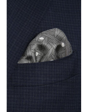 Canali Gray polka dot pocket square with woven pattern-1_1