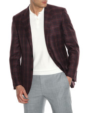 Canali Bordeaux and blue wool-silk crisscross blazer-1_1
