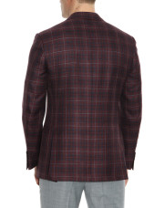 Canali Bordeaux and blue wool-silk crisscross blazer-1_2
