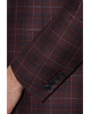 Canali Bordeaux and blue wool-silk crisscross blazer-1_3