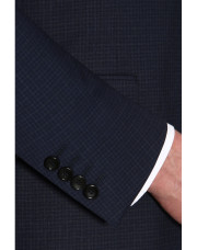 Canali Navy wool suit with micro-check motif-1_1