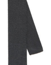 Canali Black silk knitted tie-1_2