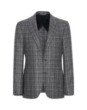 Canali Dark blue Ultra Light blazer in textured silk-wool blend-1_0