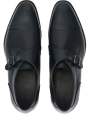 Canali Blue calfskin leather monk straps-1_4