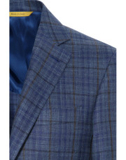 Canali Checked wool, silk and linen Kei jacket blue-1_1