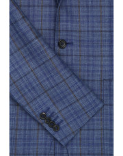 Canali Checked wool, silk and linen Kei jacket blue-1_3