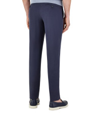Canali Dark blue linen-silk dress pants-1_2