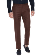 Canali Brown linen-silk flat front dress pants-1_1