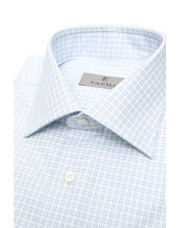 Canali White and light blue micro check dress shirt in pure cotton-1_2