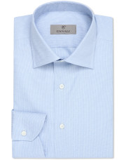 Canali Light blue dress shirt with gingham optical motif in pure cotton-1_0