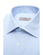 Canali Light blue dress shirt with gingham optical motif in pure cotton-1_2