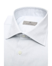 Canali Pure cotton dress shirt with green and blue checked motif-1_2