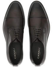 Canali Dark brown hand-buffed leather Derby shoes-1_4