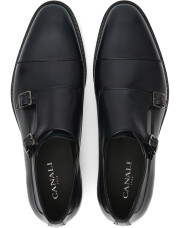 Canali Navy double monk strap shoes in buffed calfskin-1_4