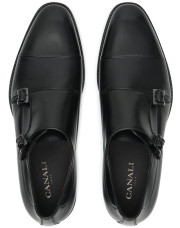 Canali Black Double Monkstrap shoes with tumbled inserts-1_4