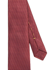 Canali Red silk tie with bicolored woven pattern-1_2