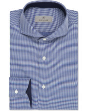 Canali Blue and white cotton dress shirt with honeycomb effect-1_0