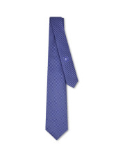 Canali Blue silk tie with optical pattern-1_0