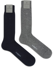 Canali Black and Gray Cashmere sock two-pack-1_0
