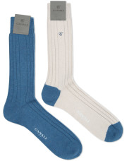 Canali Blue and cream Cashmere sock two-pack-1_0