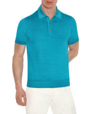 Canali Turquoise knitted polo in wool-silk blend-1_0