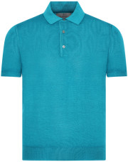 Canali Turquoise knitted polo in wool-silk blend-1_1