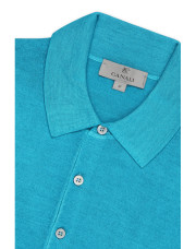 Canali Turquoise knitted polo in wool-silk blend-1_3