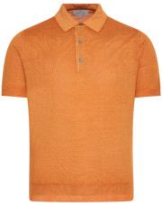 Canali Orange Knitted polo in wool-silk blend-1_1