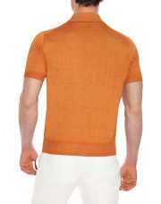 Canali Orange Knitted polo in wool-silk blend-1_2