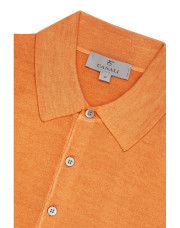 Canali Orange Knitted polo in wool-silk blend-1_3