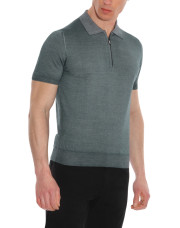 Canali Gray zip-up polo in wool-silk blend-1_0