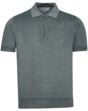 Canali Gray zip-up polo in wool-silk blend-1_1