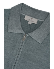 Canali Gray zip-up polo in wool-silk blend-1_3