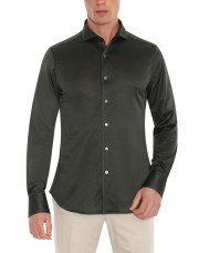 Canali Dark green shirt in pure cotton-1_1