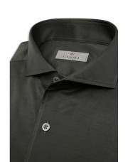Canali Dark green shirt in pure cotton-1_3