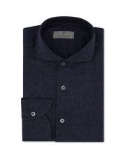 Canali Dark blue slim fit linen shirt with French collar-1_0