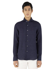 Canali Dark blue slim fit linen shirt with French collar-1_1