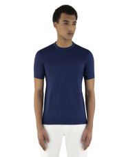 Canali Navy blue mercerized cotton t-shirt-1_2