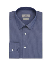 Canali Blue pinstripe motif dress shirt in cotton blend-1_0