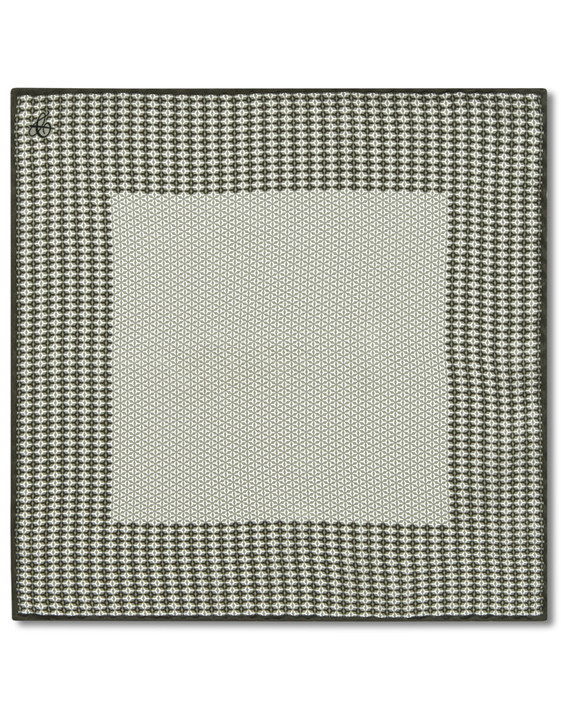 Canali Green silk pocket square with geometric motif-2_0