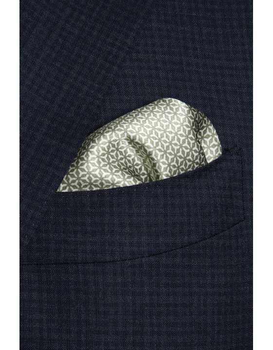 Canali Green silk pocket square with geometric motif-2_1