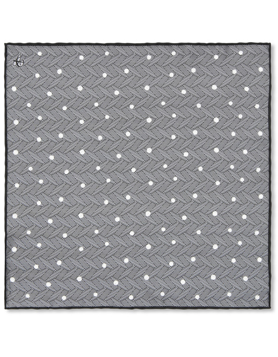 Canali Gray polka dot pocket square with woven pattern-2_0