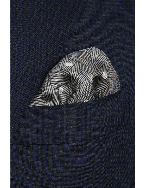 Canali Gray polka dot pocket square with woven pattern-2_1