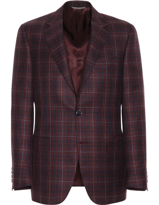 Canali Bordeaux and blue wool-silk crisscross blazer-2_0