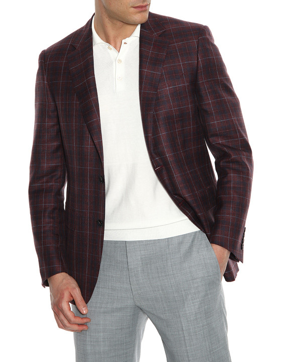 Canali Bordeaux and blue wool-silk crisscross blazer-2_1