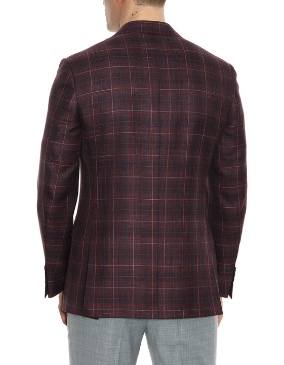 Canali Bordeaux and blue wool-silk crisscross blazer-2_2