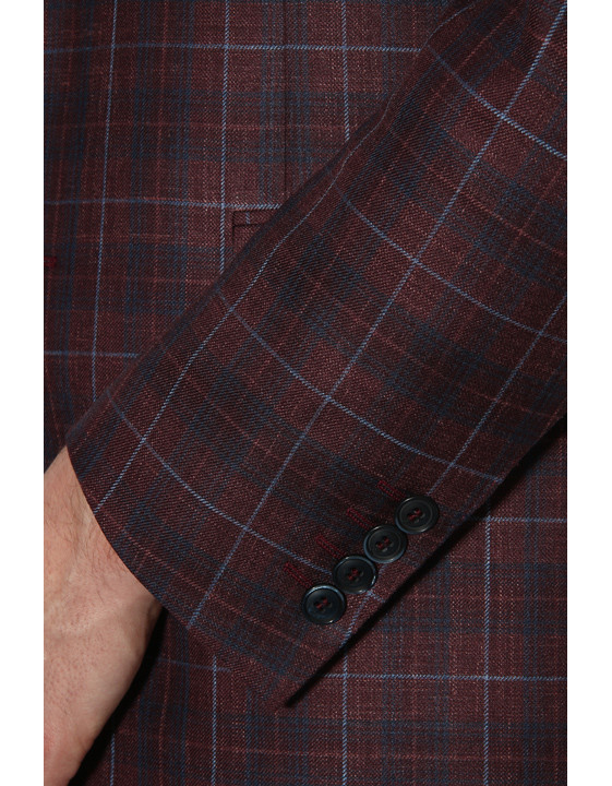 Canali Bordeaux and blue wool-silk crisscross blazer-2_3