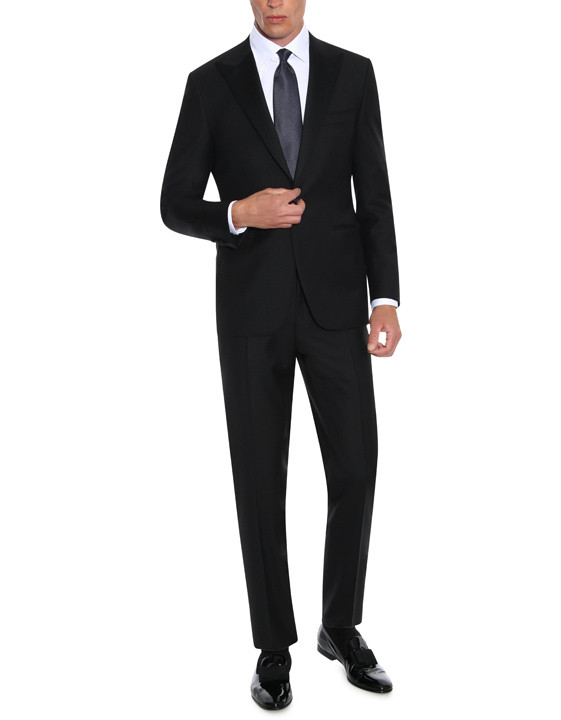 Canali Black wool tuxedo with silk peak lapels-2_0