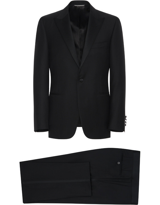Canali Black wool tuxedo with silk peak lapels-2_1