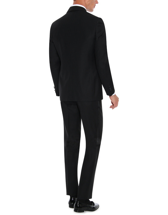 Canali Black wool tuxedo with silk peak lapels-2_3